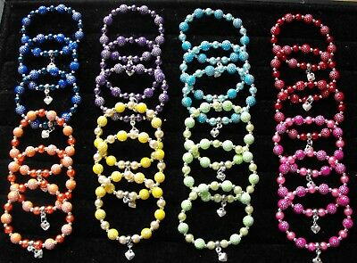 Wholesale Jewellery Childrens Job Lot 24 Beaded Charm Bracelets, Dots,party Bags