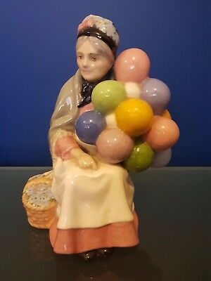 Balloon Lady Figurine - rare colours - grey pink & blue Royal Doulton Look!