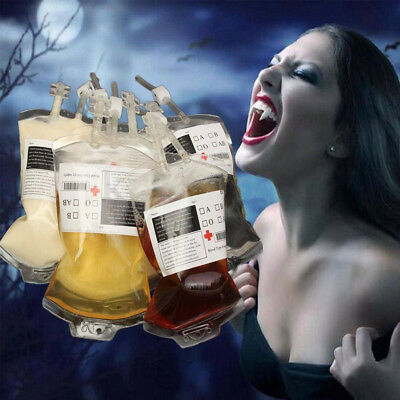 50Pcs Iv Blood Bags Halloween Party Haunted House Drink Container Decoration Au