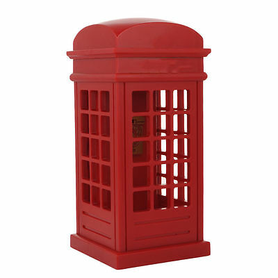 Novelty Telephone Booth Design LED Corded Phone Cute Red Cabinet Telephone NEW