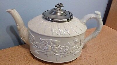 Antique White Stoneware Teapot With Applique Relief And Pewter Lid.V G Condition