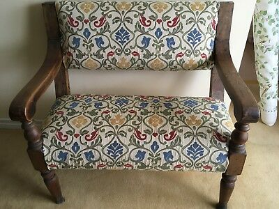 Gorgeous Bench small pew covered fabric seat aged