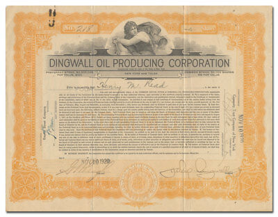 Dingwall Oil Producing Corporation Stock Certificate (Tulsa, Oklahoma Oil Scam)