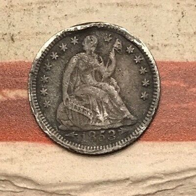 1853 5C Seated Liberty Half Dime 90% Silver Vintage US Coin #SX126