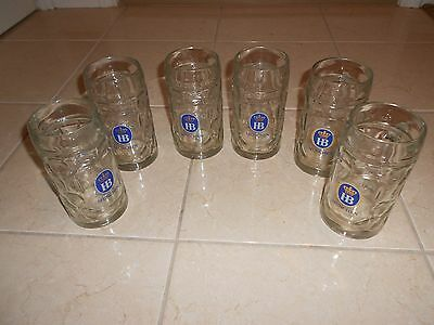 Lot Of 6  Hb Hofbrauhaus Munchen Dimpled Glass Beer Stein .5 Liter
