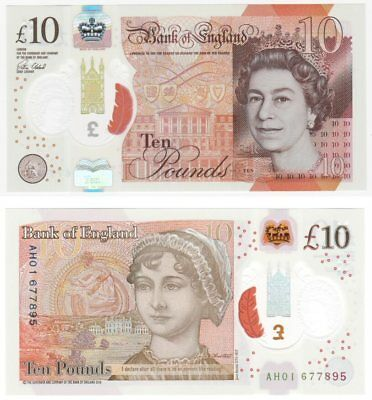 NEW Polymer Bank of England £10 Banknote - AH Prefix - Mint condition.