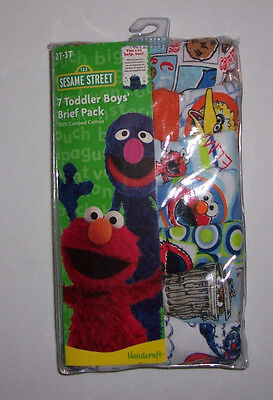 Sesame Street 7 Briefs Cotton Toddler Boys 2T 3T (27-34 pounds) NIP