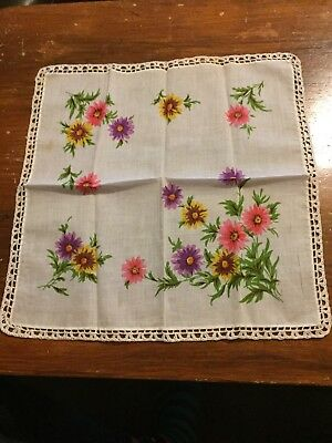 Two Vintage Floral Handkerchiefs Collection Rare Embroidered