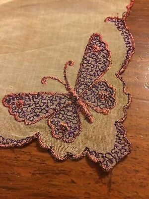 TWO VINTAGE Butterfly And Floral HANDKERCHIEFS COLLECTABLE RARE EMBROIDERED