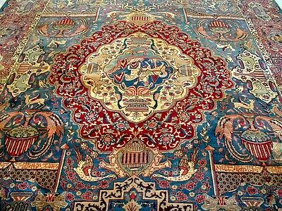 10X14 1940's AUTHENTIC HISTORIC ARCHAEOLOGY HUNTING SIGNED KASHMAR PERSIAN RUG