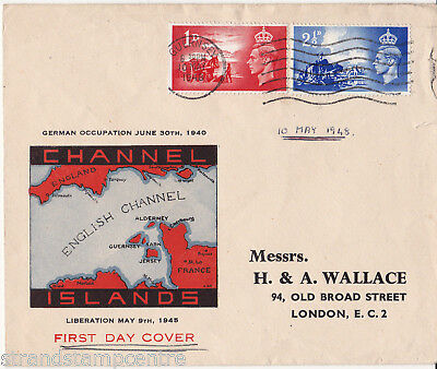 1948 Liberation - Illustrated (Map) Cover - Guernsey Wavy Line Slogan