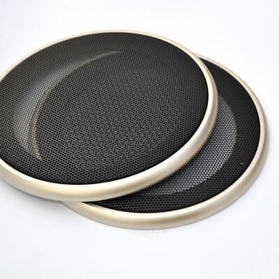"2x6.5"" Black Car Speaker Coaxial Steel Mesh Grills Cover Gold Woofer Mask Cover"