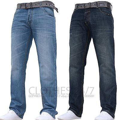 BNWT Crosshatch Men/'s Designer Branded Panelled Jeans Available in 3 Colours