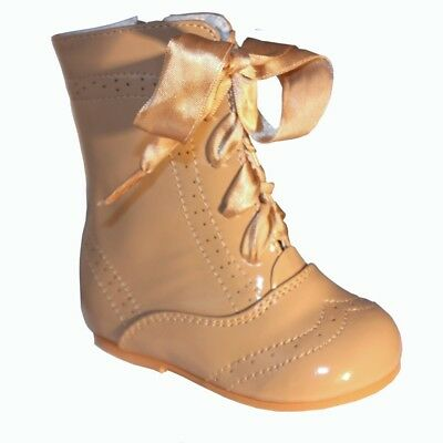 Sevva Baby Girls Isabelle Spanish Romany Style Camel Ribbon Lace Patent Boots