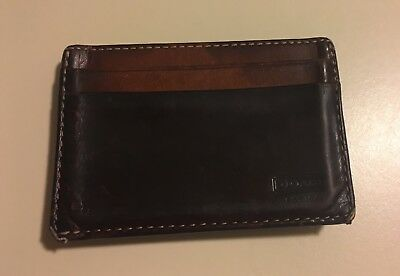Men's Coach Leather Money Clip/Card Holder Wallet (Brown]