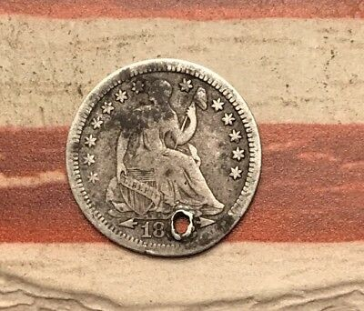 1853 5C Seated Liberty Half Dime 90% Silver Vintage US Coin #SX129