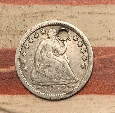 1853 5C Seated Liberty Half Dime 90% Silver Vintage US Coin #SX30 Very Sharp
