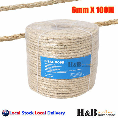 6mm x 100M Sisal Rope Natural Fiber Prime Quality Biodegradable 3 Strands  F0012