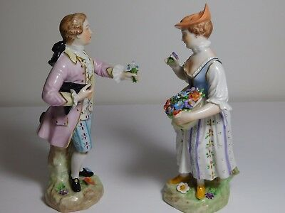 Vintage Dresden Porcelain Figurines Women with Flowers, Man with Flowers
