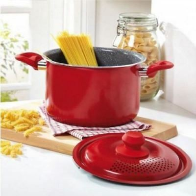 Durastone Red 4L All Hobbs +Induction Pasta Cooking Pot Pan Locking Strainer Lid