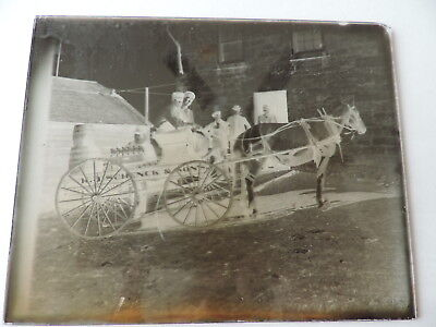 Rare Nauvoo Illinois Glass Negative Photograph Schenck Brewery Delivery Wagon