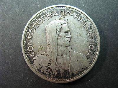 Switzerland, A Circulated 5 Franc Silver Coin Dated 1932B, Toned, Better Grade,