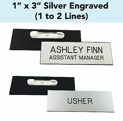"""CUSTOM ENGRAVED SILVER - 1"""" x 3"""" Name Badge Tag with PIN - Personalized Business"""