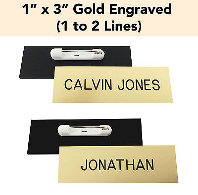 """CUSTOM ENGRAVED GOLD - 1"""" x 3"""" Name Badge Tag with PIN - Personalized Business"""