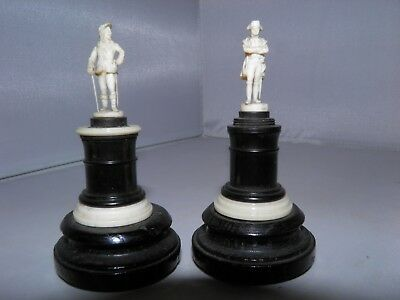 Rare 19th Cent Dieppe Carved Miniatures of Napoleon & Charles I on Ebony Bases
