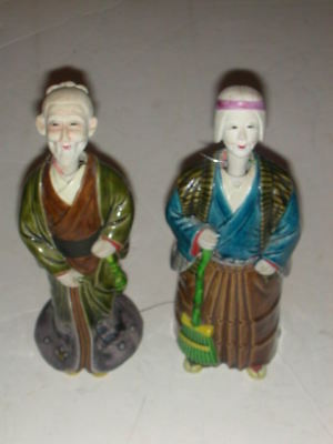Antique/Vintage Japanese Porcelain Nodders Husband and Wife with Lead Weights