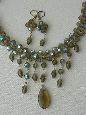 Smoky Topaz & Blue Aurora Borealis Glass Dangle Fringe Bib Necklace Earrings Set