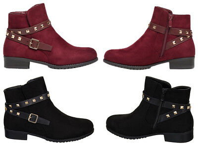 Ladies Chelsea Faux Suede Ankle Boots Studded Flat Heels Shoes Zip Up Causal UK