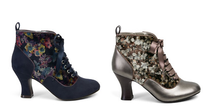 Ruby Shoo Bailey in Navy or Mink Flower Patterned Lace up Heel Shoes