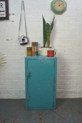 Vintage Industrial Metal Locker Bedside Cabinet Table Cupboard