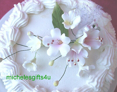 Sugar Gum Paste White Pink Apple Cherry Blossoms & Stephanotis Cake Flowers