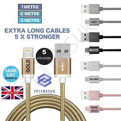 Heavy Duty Strong Braided Lightning USB Charger Cable iPhone5,6,7Plus,8,X-1,2,3M