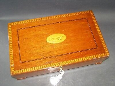 Antique Document Box Working Lock & Key 1890  Shell Inlay Center Bracket Feet