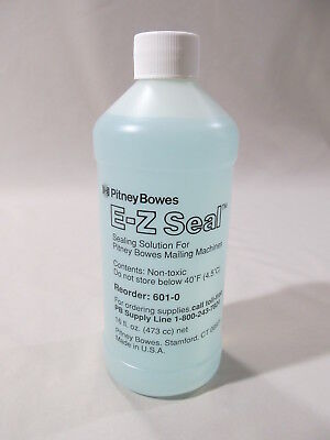 One 1 Pitney Bowes E-Z Seal # 601-0 Sealing Solution 16 Ounces Sealed Bottle New