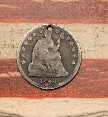 1858 5C Seated Liberty Half Dime 90% Silver Vintage US Coin #SX133