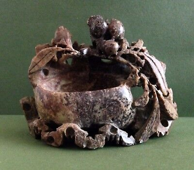 Vintage Small Chinese Hand Carved Soap Stone Carving with Basin Bowl