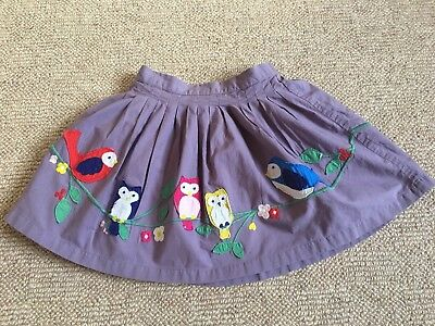 Mini Boden Girls Purple/lilac Skirt With Birds On Age 3-4 Years Vgc