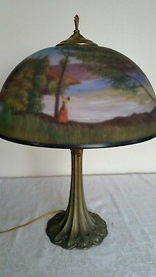 Antique Reverse Hand  Painted  Glass Shade Two Socket Lamp