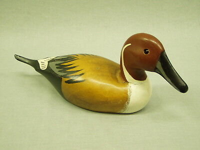 "Vintage Pintail Duck Decoy Figurine Drake Statue carved painted wood 4.5"" tall"