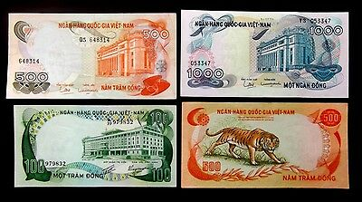 Vietnam, South Vietnam Banknotes Lot Of 4 Value Notes Condition About Ef/auc