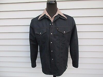 Vintage 70s Levi's Western Poly Denim Leisure Suit Jacket Shirt Set XL 44