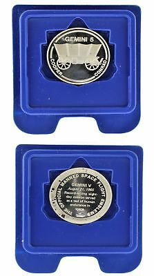 1965 United States Space Program Gemini 5 Franklin Mint Sterling Round .925 NICE