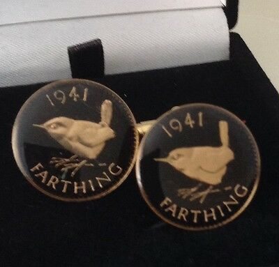 1941 George VI Enamelled Farthing Coin Cufflinks. Black/gold. 76th Birthday