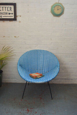Vintage Mid Century Woven Basket Chair Lounge Armchair