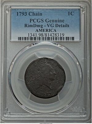 1793 Flowing Hair Chain Cent America S-3, B-4, R.3 Pcgs Vg Details, Sharp Detail