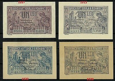 "Lot 4 Banknotes Very Rare ""1 Leu"" Old Romania 1915 & 1920 & 1937 - Unc"